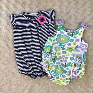 Baby Girl Summer Romper Bundle Floral Stripes 3M